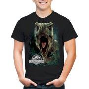 jurassic park men's jurassic world roar t-shirt, black, large