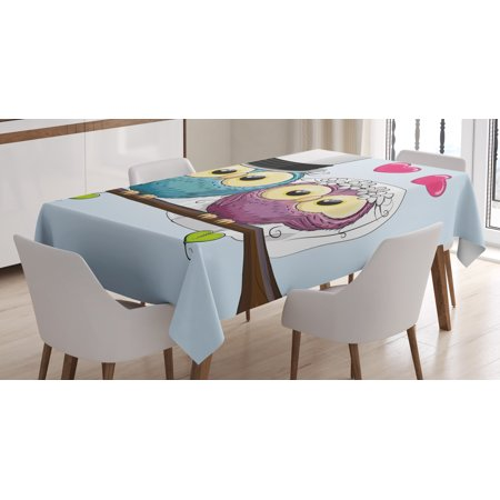 Wedding Decorations Tablecloth, Two Cartoon Style Cute Funny Owls Husband Wife Bride and Groom, Rectangular Table Cover for Dining Room Kitchen, 52 X 70 Inches, Purple Blue Pink, by Ambesonne - Bride And Groom Table