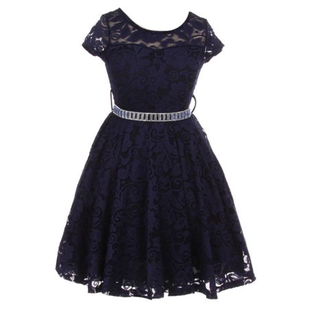 Little Girls Navy Lace Glitter Stone Belt Special Occasion Skater
