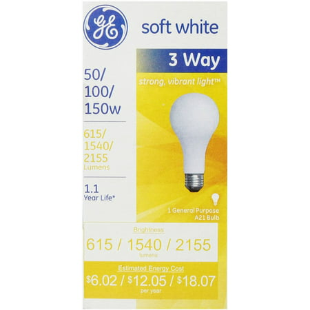 GE SoftWhite Light Bulb 3-Way 50/100/150 Watt 3