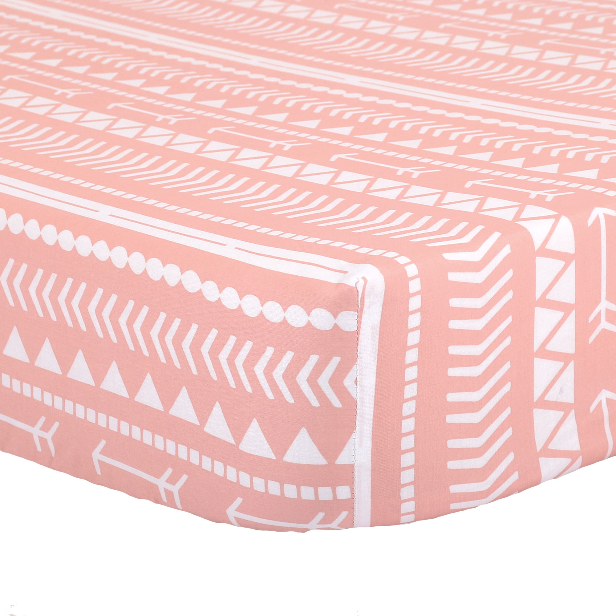 The Peanut Shell Baby Crib Fitted Sheet - Coral Pink Native American Tribal Geometric Print - 100% Cotton Sateen, Fits Standard 52 by 28 Inch Mattress