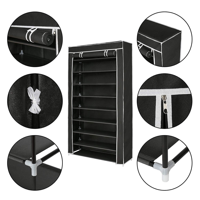 Zimtown 10 Tiers 45 Pairs Black Shoe Rack Shelf Storage Closet Home Organizer Cabinet w/ Cover