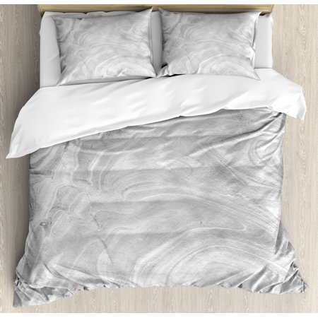 Marble Queen Size Duvet Cover Set, Traditional Monochromatic Japanese Style Paperlike Pattern Natural Retro Approach Print, Decorative 3 Piece Bedding Set with 2 Pillow Shams, White, by -