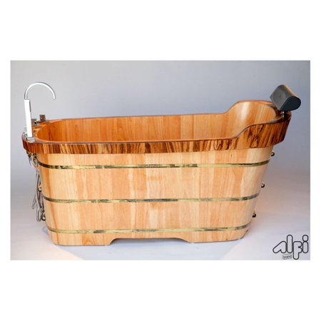 Image of ALFI 59 Inch Free Standing Oak Wood Bath Tub with Chrome Tub Filler