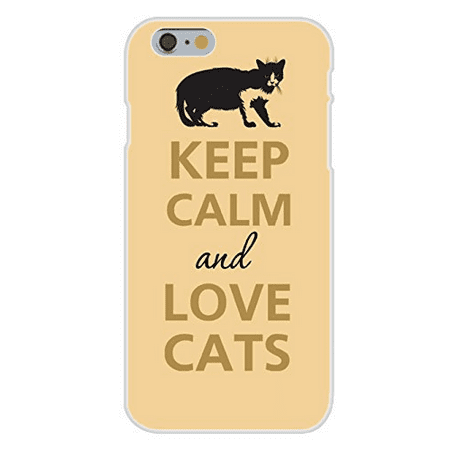 Crouching Cat (Apple iPhone 6 Custom Case White Plastic Snap On - Keep Calm and Love Cats Dark Silhouette Crouching)