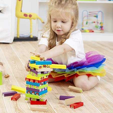 Lewo colored Stacking game Wooden Building BlocksTower Board games for Kids Adults 54 Pieces (colorful Stacking gane) - image 3 of 4
