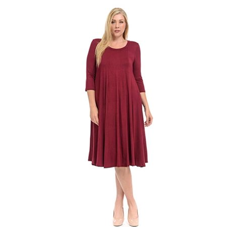 VISTA - Women\'s A-Line Trapeze Midi Dress Plus Size - Made in USA ...