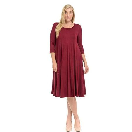 Women\'s A-Line Trapeze Midi Dress Plus Size - Made in USA