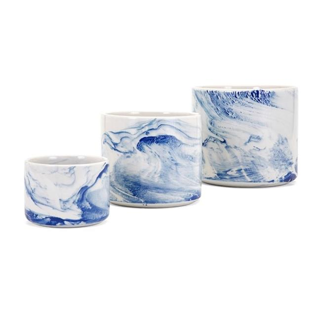 IMAX Worldwide Home 14564-3 Willow Faux Marble Planters, Set of 3 - image 1 de 1