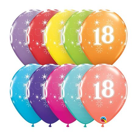 Qualatex 85934 11 in. 18th Birthday A Round Latex - 18th Birthday Ballons