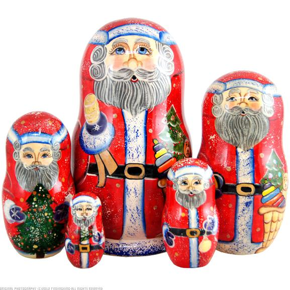 Bell Ring Santa 5 Nest Doll 6.5""