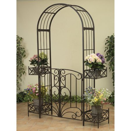 Gerson 87 Inch Tall Metal Garden Arch Gate With Movable Planters