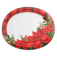 Holiday Time Disposable Oval Poinsettia Platter, 10 Count