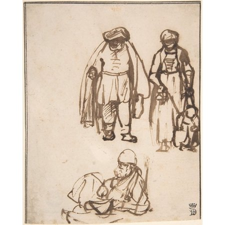 "Studies of Two Men and a Woman Teaching a Child to Walk Poster Print by Nicolaes Maes (Dutch Dordrecht 1634  ""1693 Amsterdam) (18 x 24)](Halloween Walk Amsterdam)"