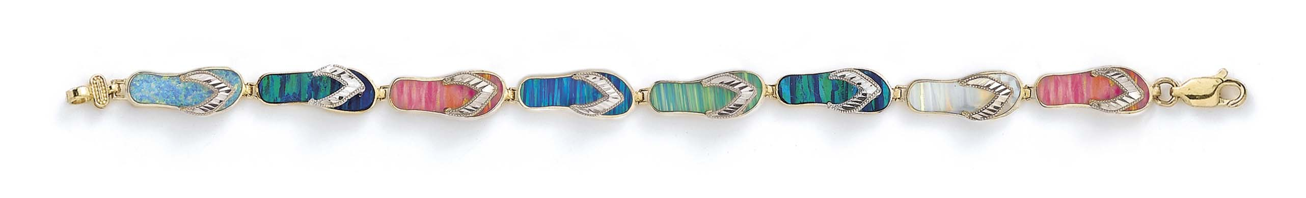 14k Yellow Gold Large Simulated Opal Sparkle-Cut Flip-Flop Bracelet 7.25 Inch by