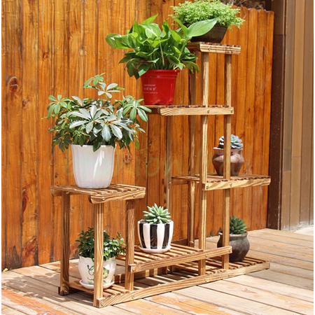 Mrosaa Wooden Plant Bonsai Stand Flower Pot Shelf Storage Rack Outdoor Indoor 6 Pots Holder, 37.4