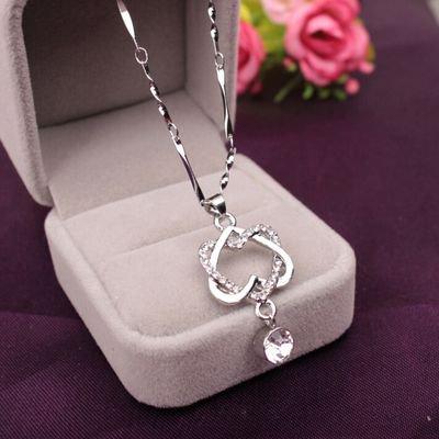 Platinum Double Old Fashion (AkoaDa New Fashion Short Couple Double Heart Wrapped Concentric Connected Platinum Necklace Heart Pendant )