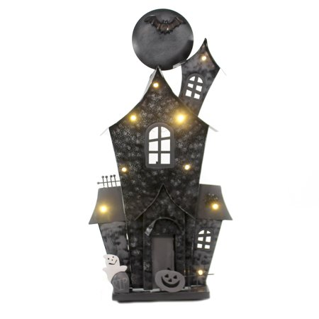 Last Day Of Halloween Haunt (Halloween TIN HAUNTED HOUSE LIGHTED Metal Ghost Spider Bats)