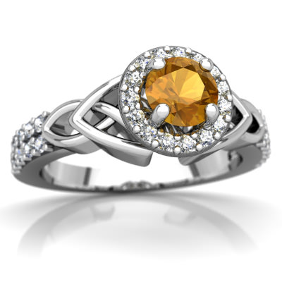 Citrine Celtic Knot Halo Ring in 14K White Gold by