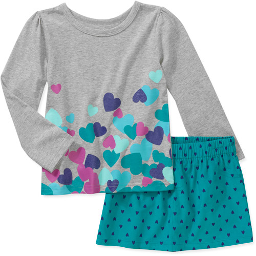 Child of Mine by Carters Baby Girls 2 Piece Heart Top and Printed Skirt Set