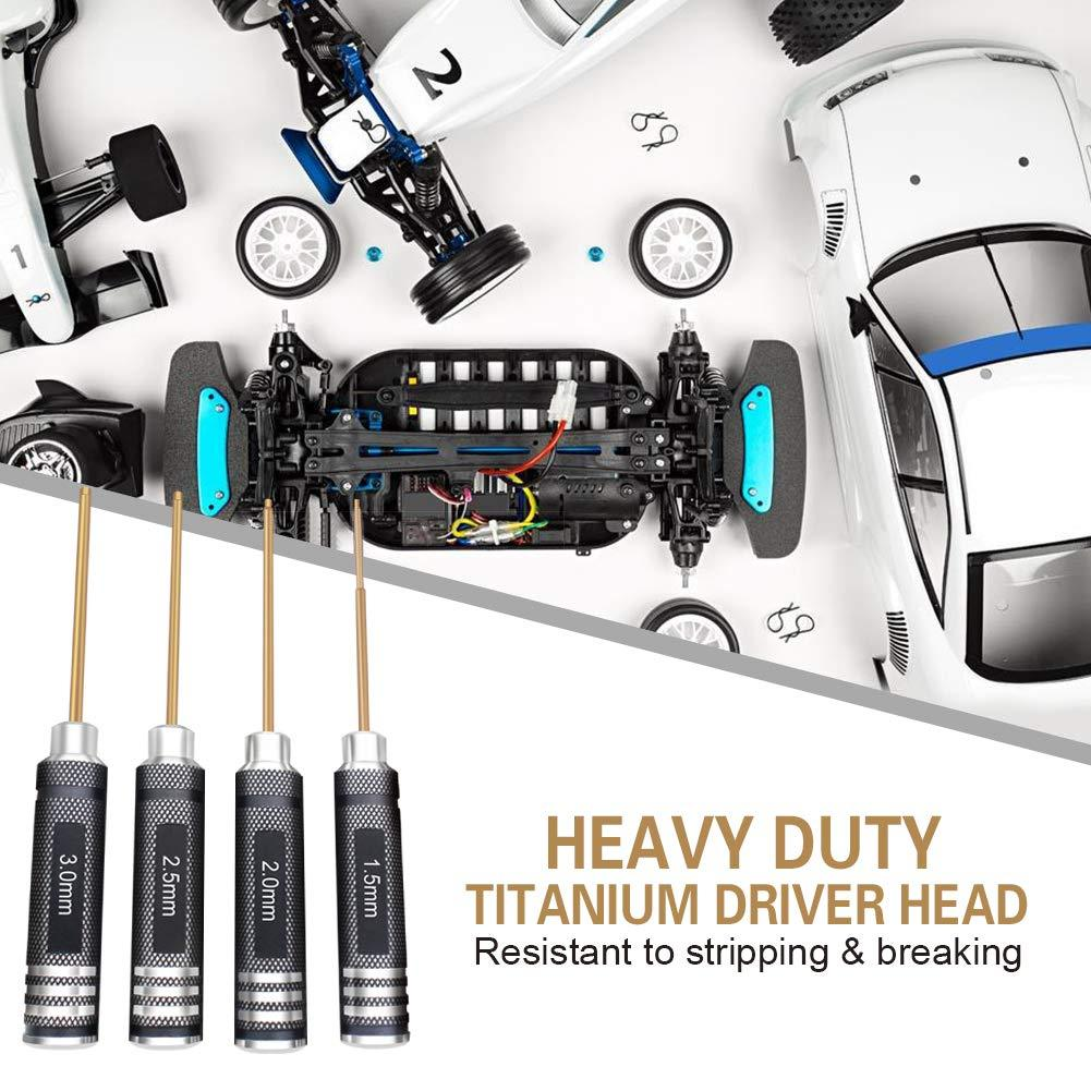 Black Portable Keychain Screwdrivers Tool 4MM 5MM Hex Head Allen Wrench Screwdriver Hex Shank Outdoor Multitool Hex Wrench for M2.5 M3.5 M4 M5 Nut Bolts Tool Set Christmas Gift