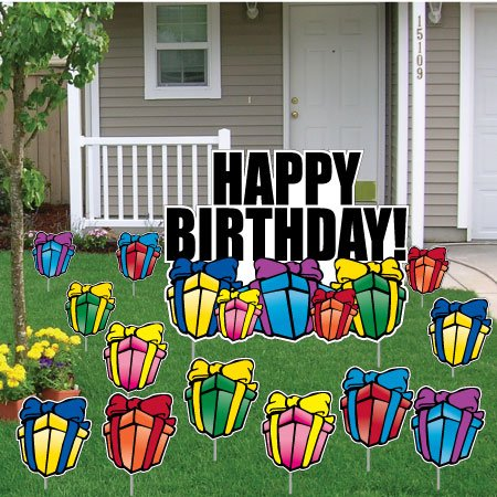 Birthday Yard Cards - Happy Birthday Greetings w/Presents Yard Decoration