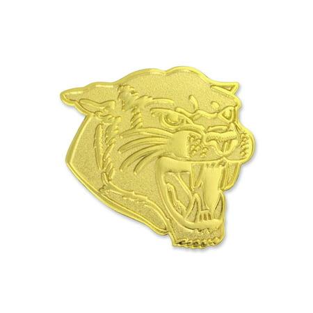Cougar Pin (PinMart's Gold Chenille COUGARS Mascot Letterman's Jacket Lapel Pin)