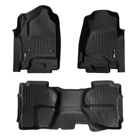 Maxliner 2014-2018 Chevrolet Silverado GMC Sierra 1500 Double Cab 2015-2018 2500 3500 HD Double Cab Smartliner Floor Mats 2 Row Liner Set Black A0136-P/B0148