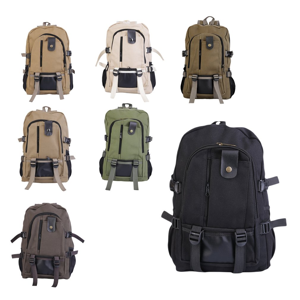 Black Men's Outdoor Sport Vintage Canvas Military backpack for adults heavy duty Shoulder Travel Hiking Camping School Bag Backpack