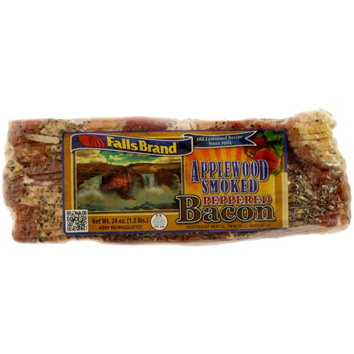 Falls Brand Applewood Smoked Peppered Bacon, 24