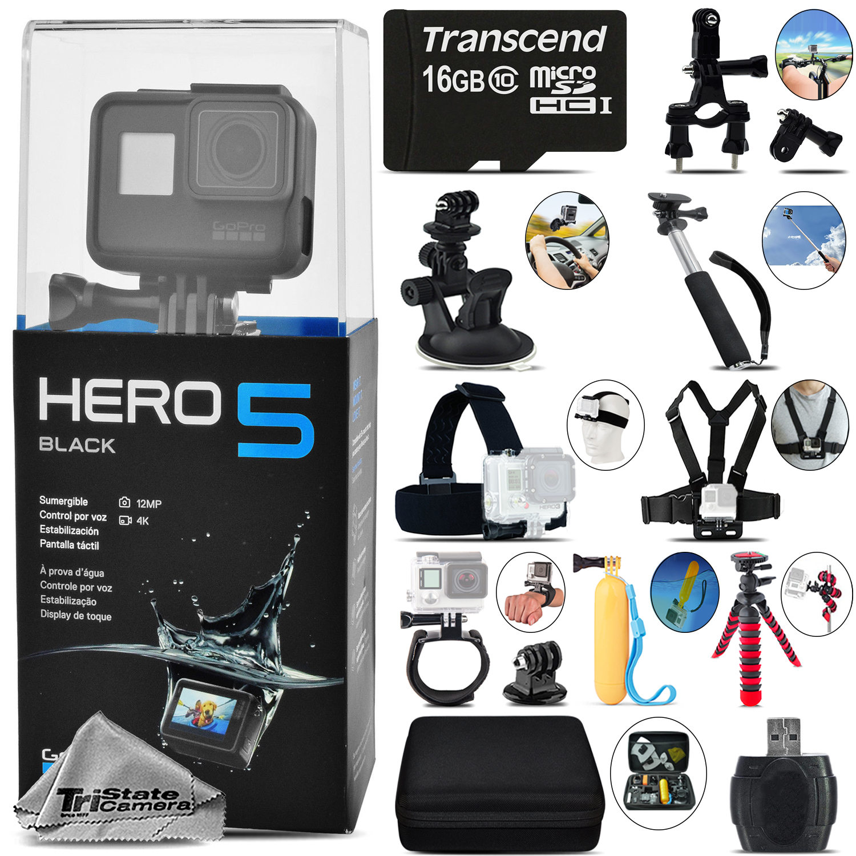 GoPro Hero 5 Black 4K30 Ultra HD, 12MP, Wi-Fi Waterproof Action Camera -Mega Kit