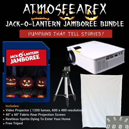 Halloween Jack-O'-Lantern Jamboree Video Projector (1900 Lumen) kit with tripod and window screen](Art Projects For Halloween)