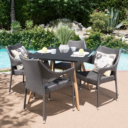 Image of Vera Outdoor 5 Piece Wicker Dining Set with Stonelike Tempered Glass Square Table with Wood Finished Metal Legs, Grey, Dark Grey