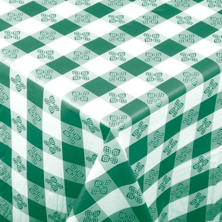 Checkered Green Plastic Tablecloth with Cotton Lining, 52