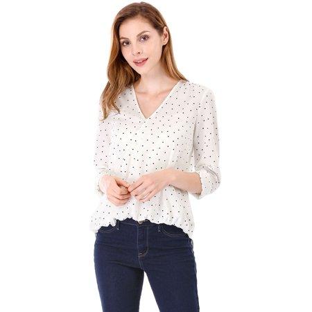 Women Long Sleeves V Neck Polka Dots Wrap Blouse