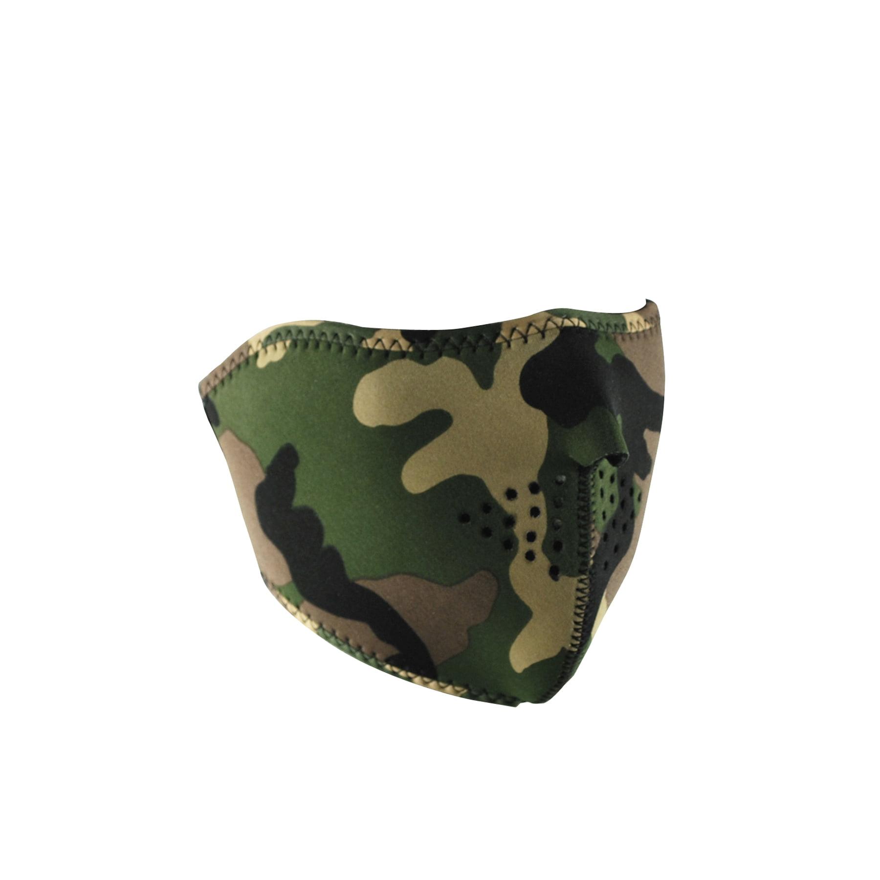 Zan Headgear Half Face Mask Camo (Green, OSFM) by Zan Headgear