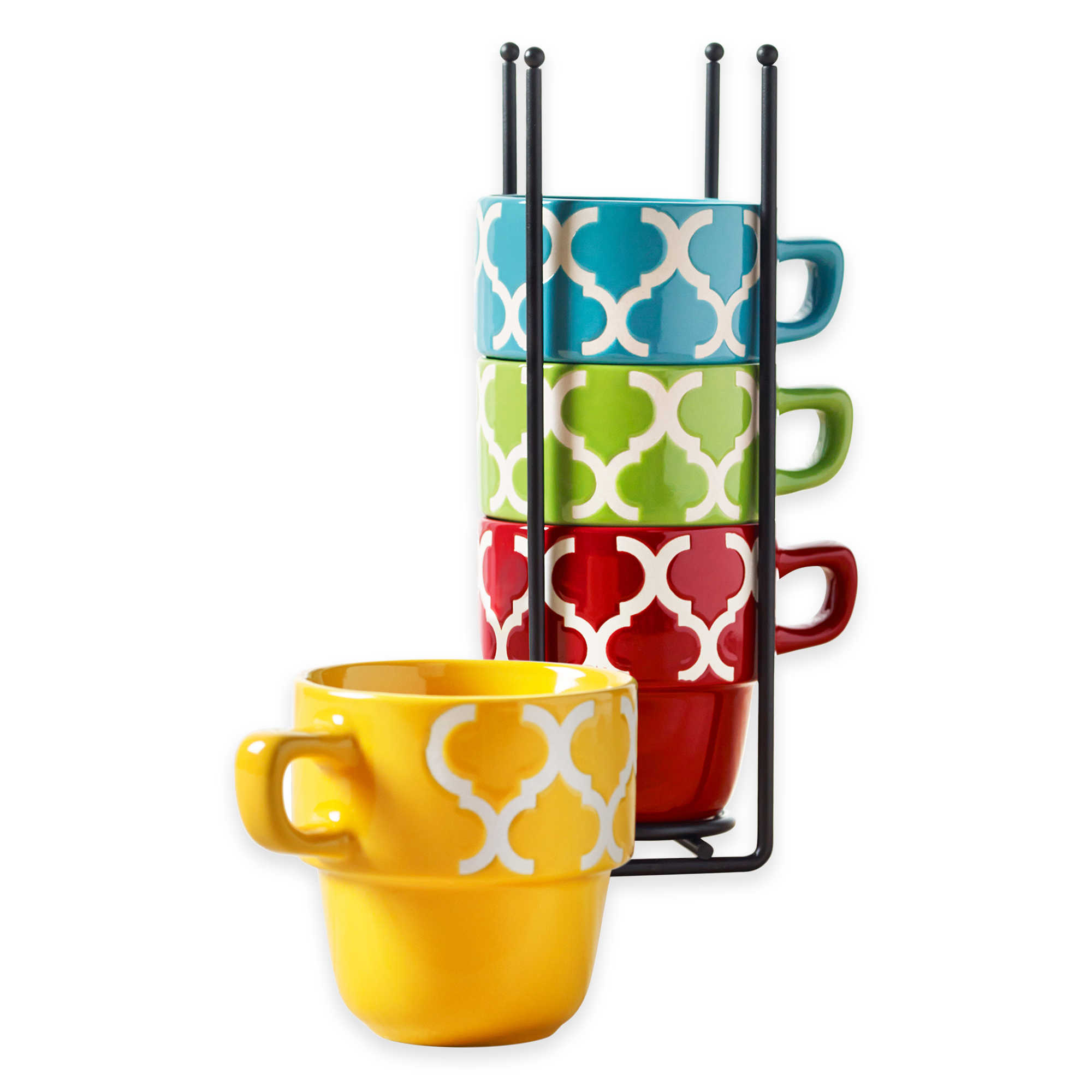Ceramic 5 Pcs. Stacking Coffee Mug Set With Rack Mugs With Stand Tile