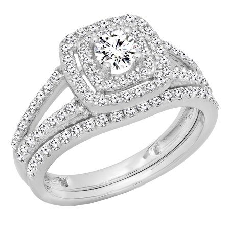 1.00 Carat (ctw) 10K Gold Round Cut Diamond Bridal Split Shank Halo Engagement Ring Band Set 1 CT