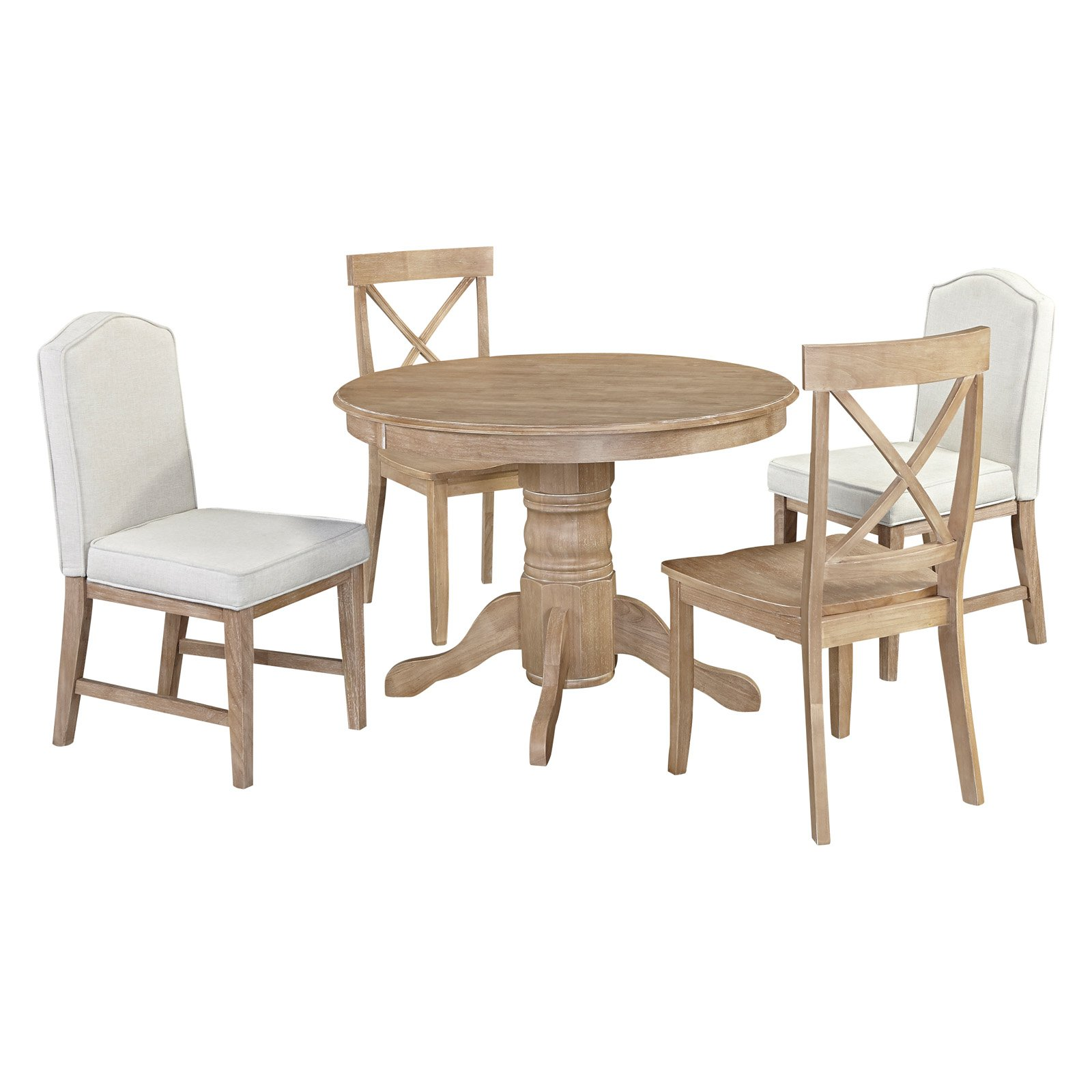 Home Styles Classic 5-Piece Dining Set with Cross Back and Upholstered Dining Chairs