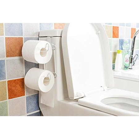 Over The Tank Bath Toilet Paper Holder 2 Roll Storage For Bathroom White