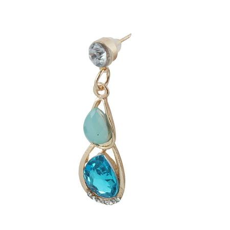 Women Metal Leaf Design Bib Collar Charming Choker Necklace Earrings Blue Set - image 1 of 4