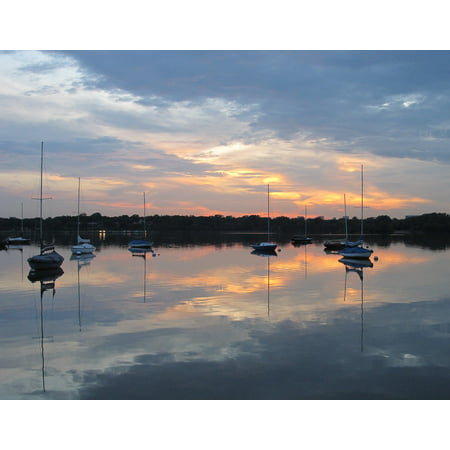 LAMINATED POSTER Dusk Serenity Sunset Sail Boats Lake Serene Poster Print 24 x 36