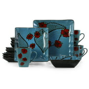 Elama Aloha Tide 16 Piece Square Stoneware Dinnerware Set in Blue and Floral