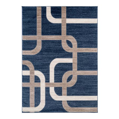 - Ladole Rugs Anatolia Collection Vintage Geometric Pattern Beautiful Design Area Rug Carpet in Blue and Beige, 2x3 (2' x 3'3