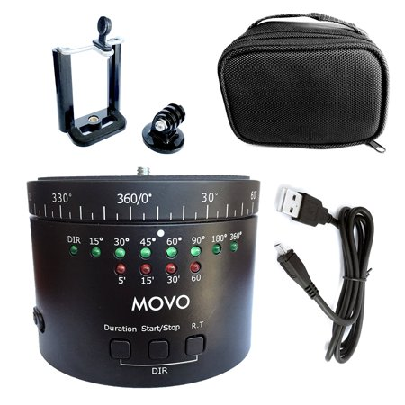 Movo Photo MTP-11 Motorized Panaromic Time Lapse Tripod Head with Variable Speed, Time and Direction with Built-in Rechargeable Battery - For DSLR Cameras, GoPro and Smartphones ()