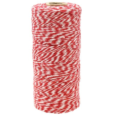 Just Artifacts ECO Bakers Twine 240yd 4Ply Striped Cherry Red  - Decorative Bakers Twine for DIY Crafts and Gift (Bakers Twine Set)