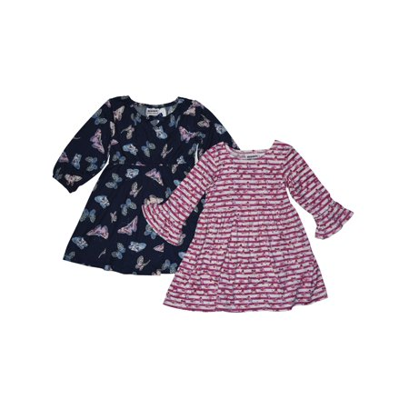 Roses and Floral Stripe Knit Dresses, 2-Pack (Little Girls)