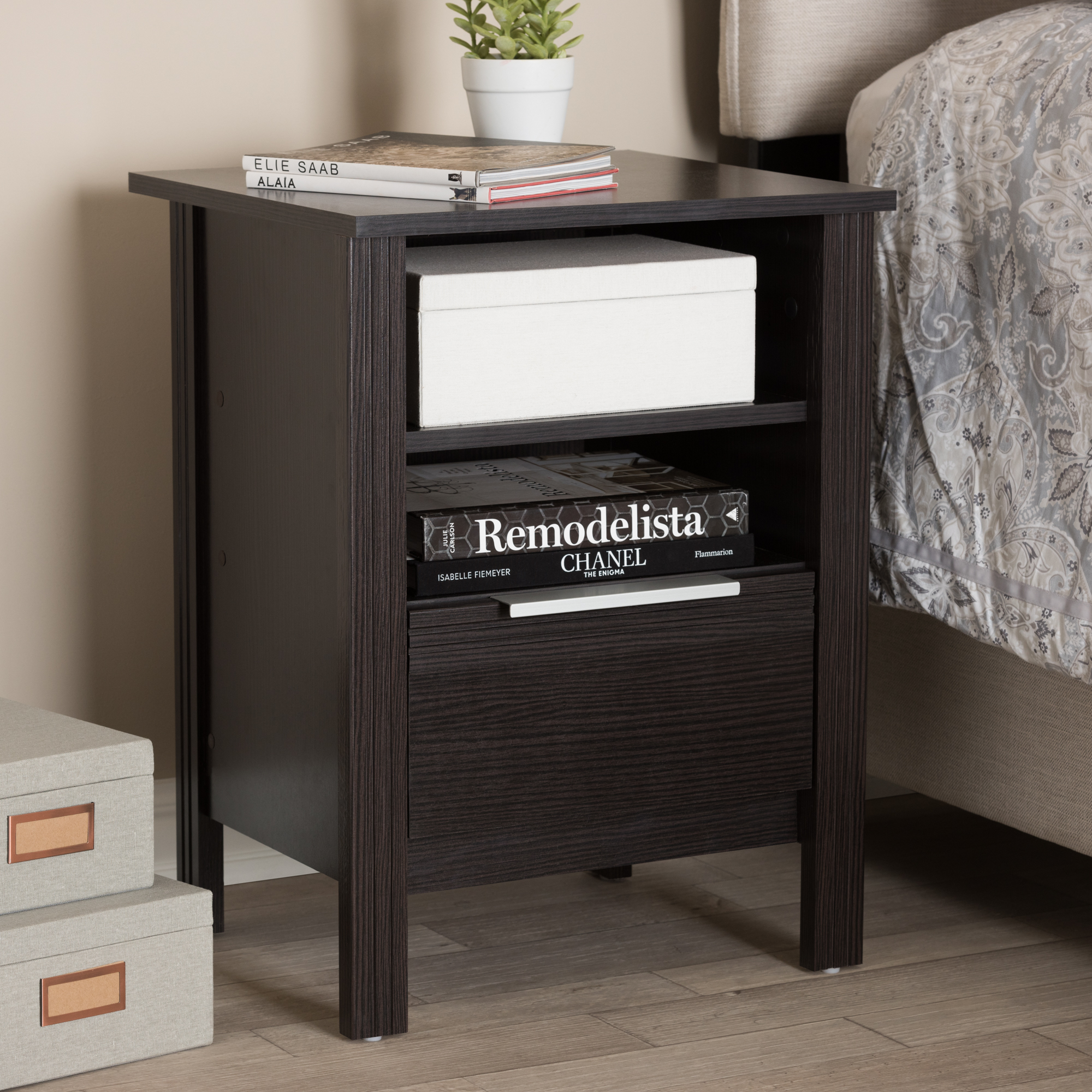 Baxton Studio Hamish Modern and Contemporary Wenge Brown Finished 1-Drawer Nightstand