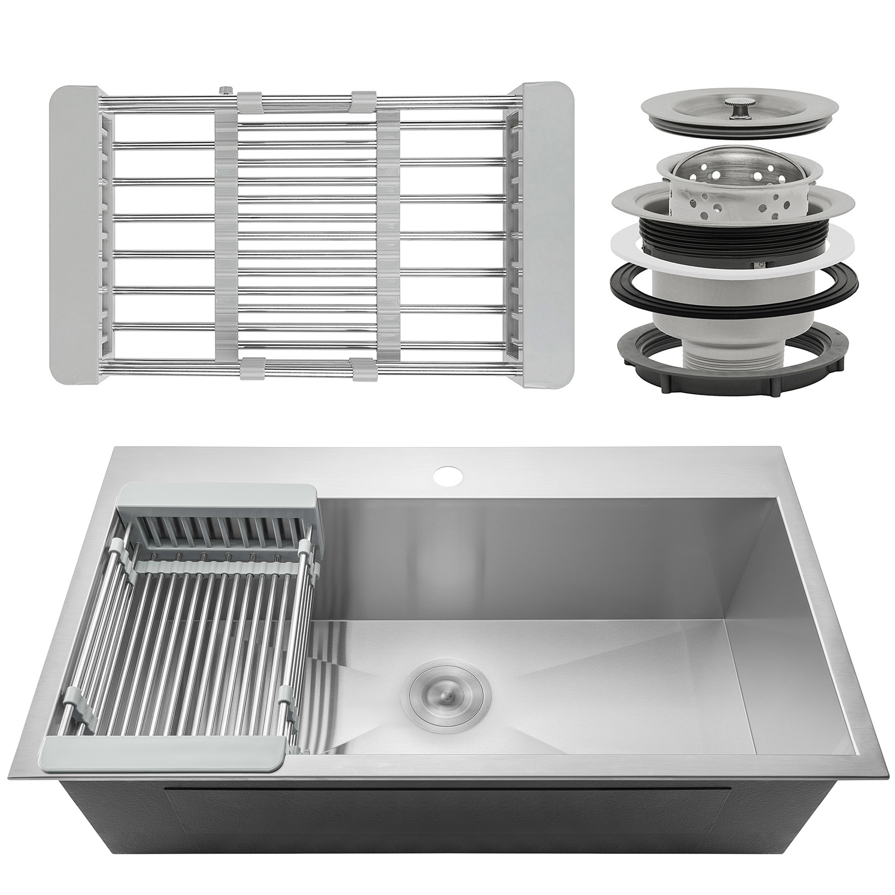 "Image of AKDY 33"" x 22"" x 9"" Stainless Steel Top Mount Kitchen Sink 18 Gauge Single Basin w/ Tray Strainer Kit"