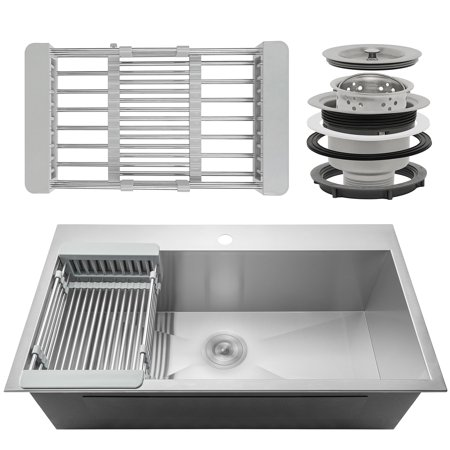 """Image of AKDY 33"""" x 22"""" x 9"""" Stainless Steel Top Mount Kitchen Sink 18 Gauge Single Basin w/ Tray Strainer Kit"""